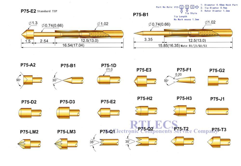 100 Uds., sonda de prueba con resorte P75 Series, sonda de prueba PCB desnuda, Pogo pin dorado, chapado en 3A, estilo de punta, elija pedir