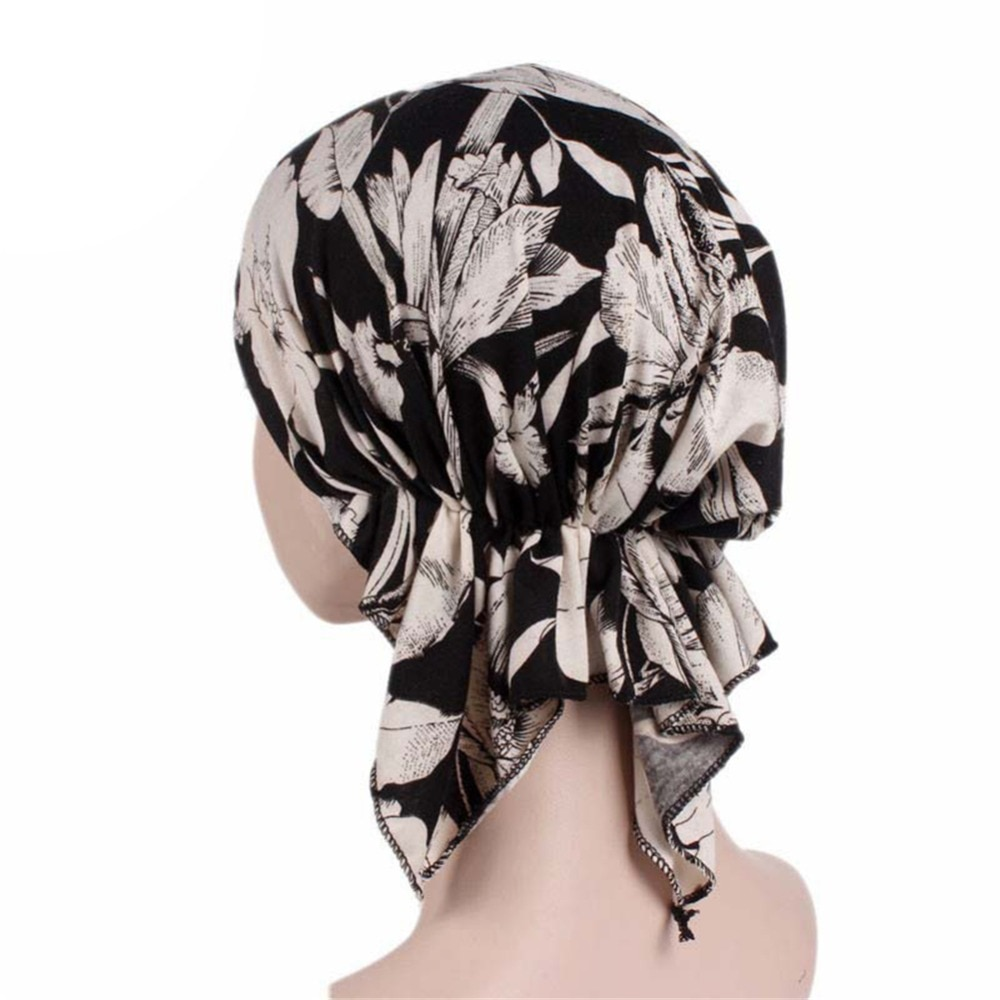 Frauen Blume Drucken Elastische Pre Gebunden Schal Kappe Chemotherapie Bandana Hut Damen Headwear Beanie Turban Haar Zubehör