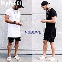 HIPFANDI  Summer style Men silver side zipper T-shirt Streetwear Style Hip Hop T shirts Fashion Clothes designer Swag Tshirt