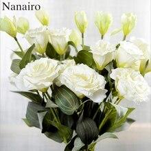 70CM jedwab sztuczny nerwu trójdzielnego lisianthus kwiat bukiet ślubny stół dekoracyjny układ tanie sztuczne kwiaty Craft