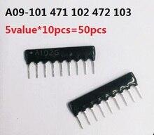 5value*10pcs=50pcs Network resistor kit A09 101 471 102 472 103 9PIN Exclusion Resistance 100R 470R 1K 4.7K 10K Ohm Assorted set