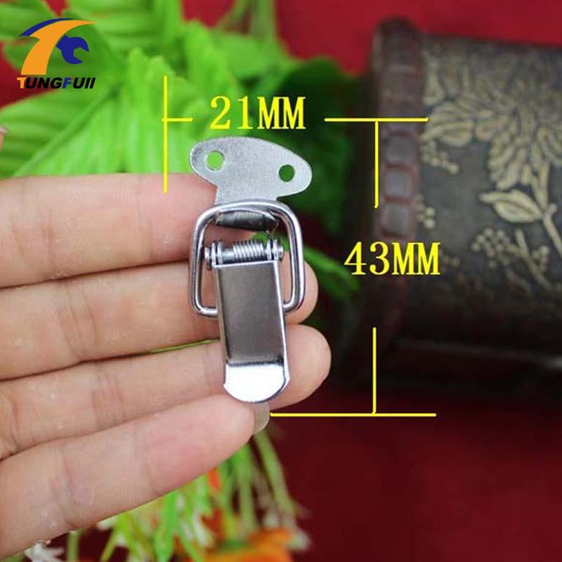 Promoción, tiempo limitado, 43*21mm, pequeña hebilla de pico de pato, cierre de bloqueo de caja de Metal, cromo, cajas de embalaje decorativas, Gadgets