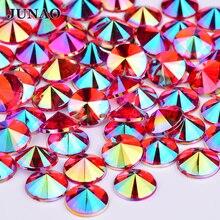 JUNAO 4 5 6 10 мм красный AB Кристалл Стразы круглые Rivoli Strass Flatback Акриловые драгоценные камни для украшения кристаллов