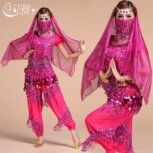 Top Quality Indian Dress Women Tassel Sequins Belly Dance Costume Belly Dance Top Belt Adults Perfor