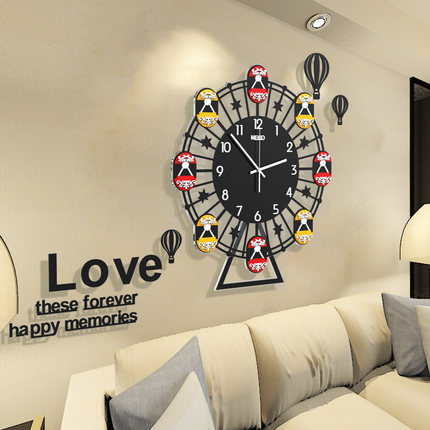 Noria de moda Relojes de pared de salón reloj moderno Simple reloj de cuarzo creativo mudo Tabla de pared