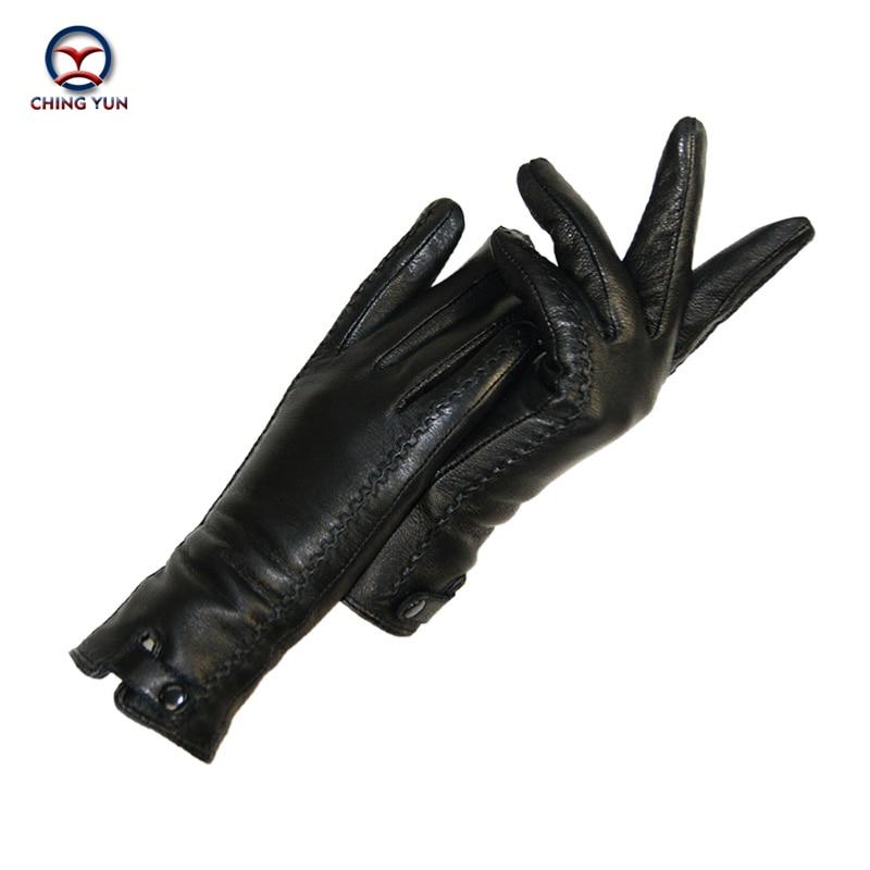 New Women's Gloves Genuine Leather Winter Warm Fluff Woman Soft Female Rabbit Fur Lining Riveted Cla