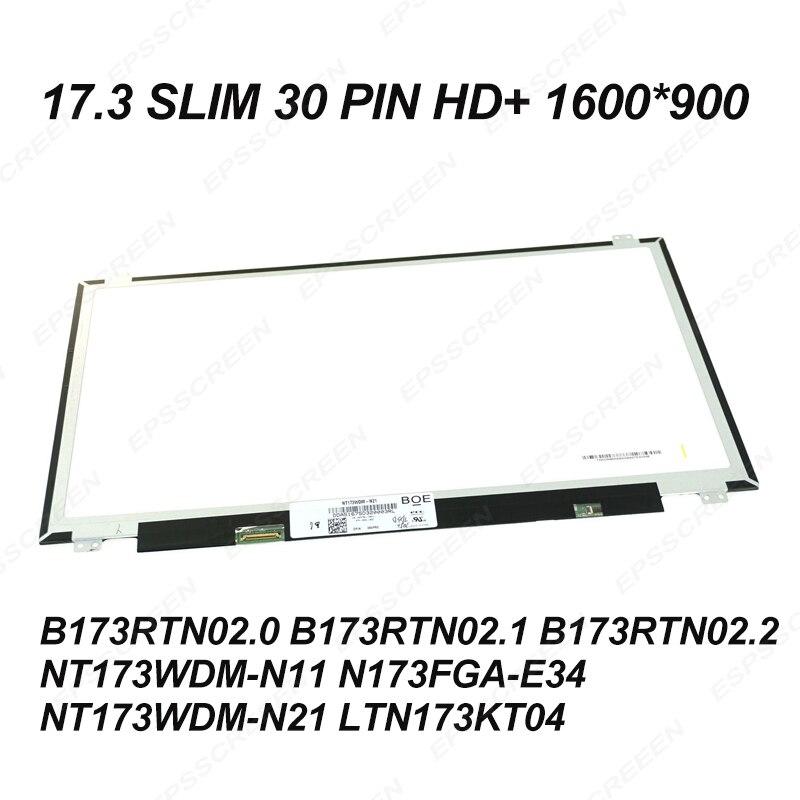 Tela do laptop de substituição 17.3 ultraslim 30PIN HD + 1600*900 do monitor para HP 17-BS 17-BS062ST (AD13) EXIBIÇÃO de PAINEL fix