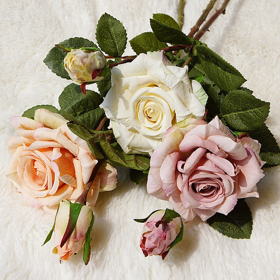 Flores de seda artificiales de Rosa hermosa, decoración grande retro Para el hogar, flores artificiales de imitación blancas, decoración vintage para boda