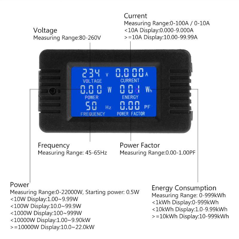 6in1 digital ac 80 260 v monitor de energia tensão atual kwh watt medidor 100a/10a qiang