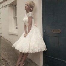2020 Vestidos de Novia  See through Back Pretty Appliques Plus size Scoop Knee-Length Lace Short Wedding Dresses Garden Bridal g
