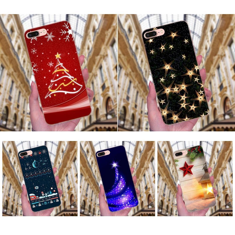 For Apple iPhone X XS Max XR 4 4S 5 5C 5S SE 6 6S 7 8 Plus Soft Case Beautiful Merry Christmas Star