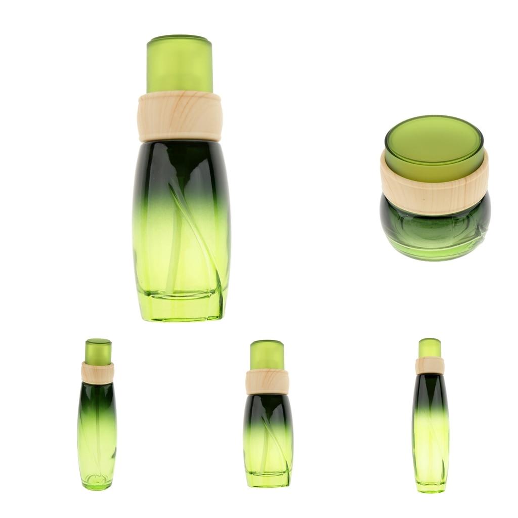 1 Juego de 4 piezas Premium vacío portátil rellenable de vidrio cosmético maquillaje cara crema tarro Pequeño contenedor botella olla