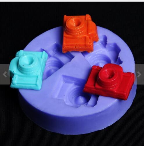 Molde de silicona para jabón, molde de resina para Fondant en forma de cámara con cavidad de 3 agujeros