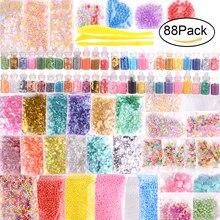 88 шт., Детский набор для самостоятельного изготовления самодельных слизи, пенопластовые шарики, бусины, очаровательные банки с блеском, кон...