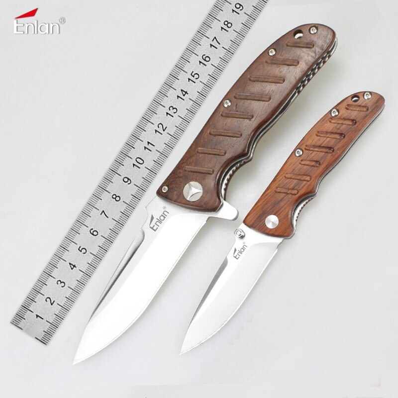 Enlan EL-01 EM-01M Small EDC Folding Knife 8Cr13MoV Blade Wood Handle Camping survival Top Military Pocket EDC Tool Knife