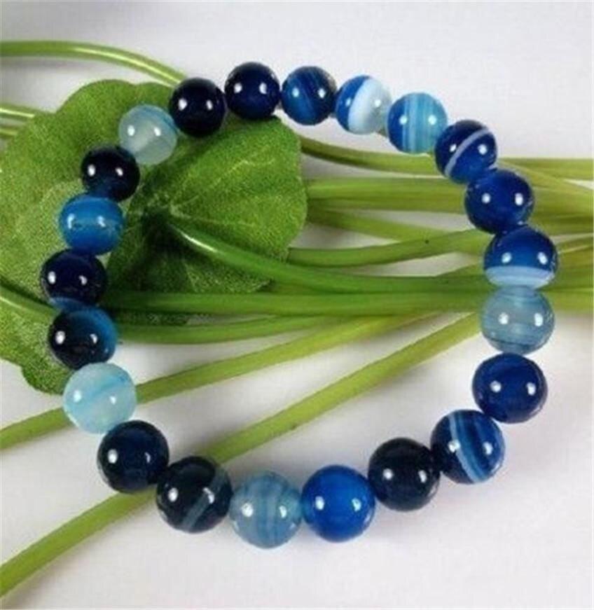 10 MM ANTIQUE ART déco véritable RARE bleu calcédoine AGATE perles BRACELET 7.5