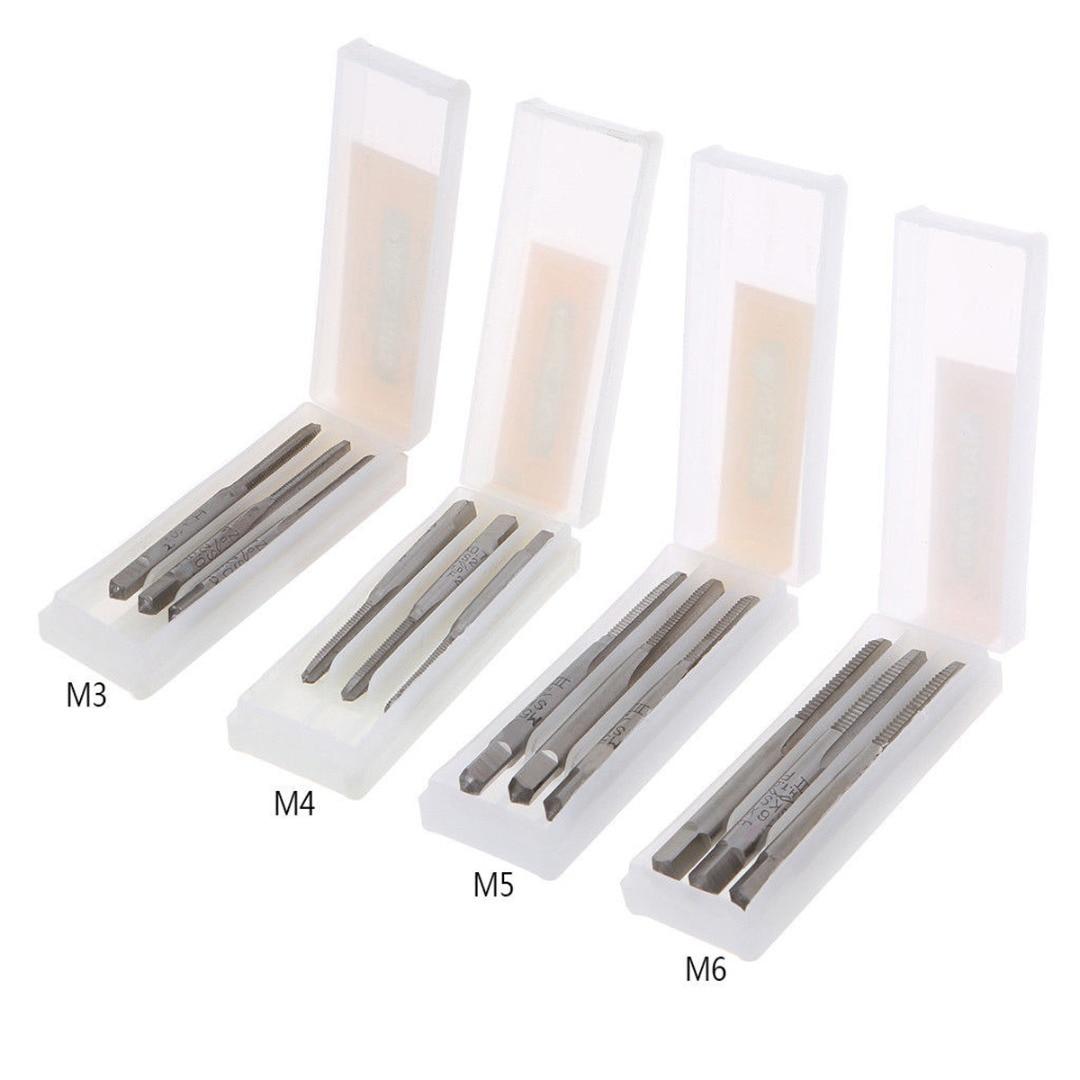 3 pièces Hss Machine filetage prise métrique robinet vis tarauds M3x0.5/M4x0.7/M5x0.8/M6x1.0 HSS Machine filetage à main