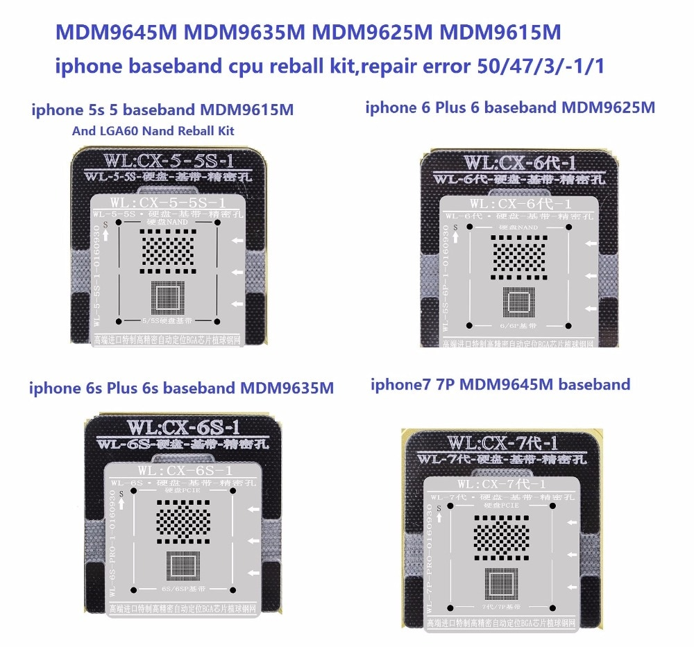 MDM9645M MDM9635M MDM9625M MDM9615M reball kit para iPhone de banda base cpu bb reparación error 50/47/3/-1/1