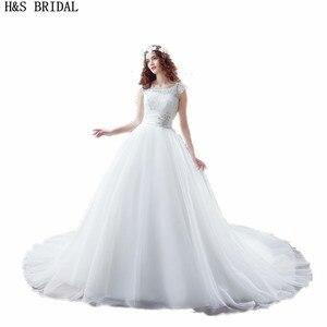 Around Neck princess wedding dresses vestido de noiva A-line Beaded cheap Wedding Gowns Lace vintage wedding dress