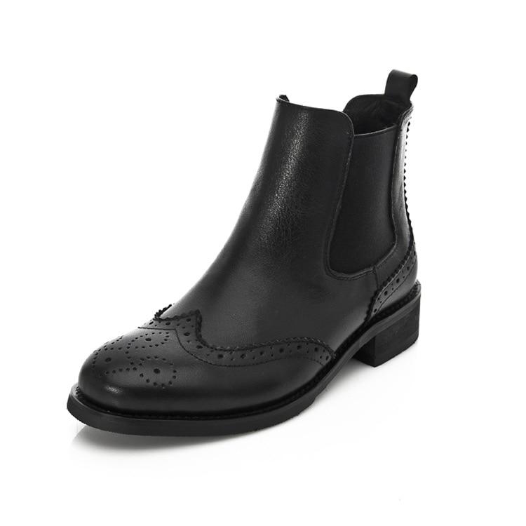 SWYIVY/ботинки «Челси» из натуральной кожи с цветочным принтом; Новые женские теплые зимние ботинки на толстом каблуке в стиле ретро с бархатн...