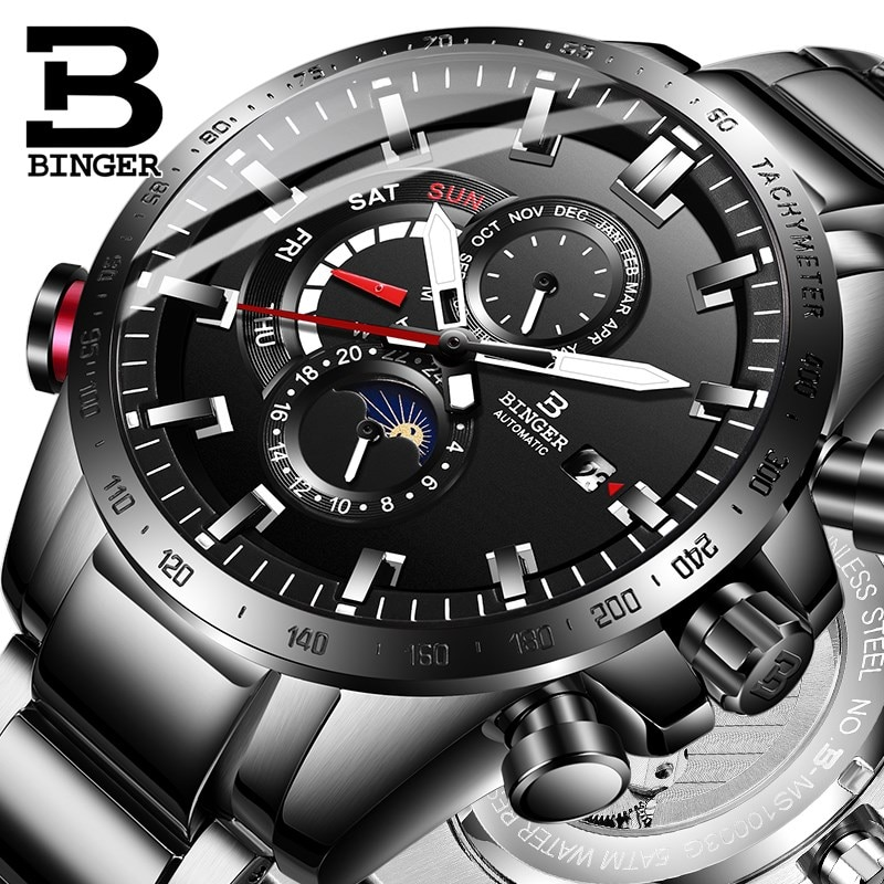 BINGER-ساعة يد رجالية ، ميكانيكية ، أوتوماتيكية ، مضيئة ، مقاومة للماء ، بحزام فولاذي ، ذكر