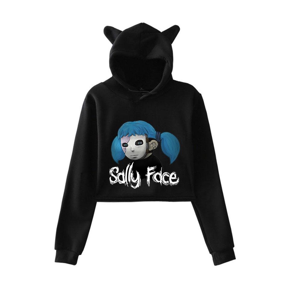 NEW fashion   2018 face fashion trend sala Cat Crop Top Women summer Hoodies Sweatshirt Sexy hot Kpop Harajuku plus Size 2XL