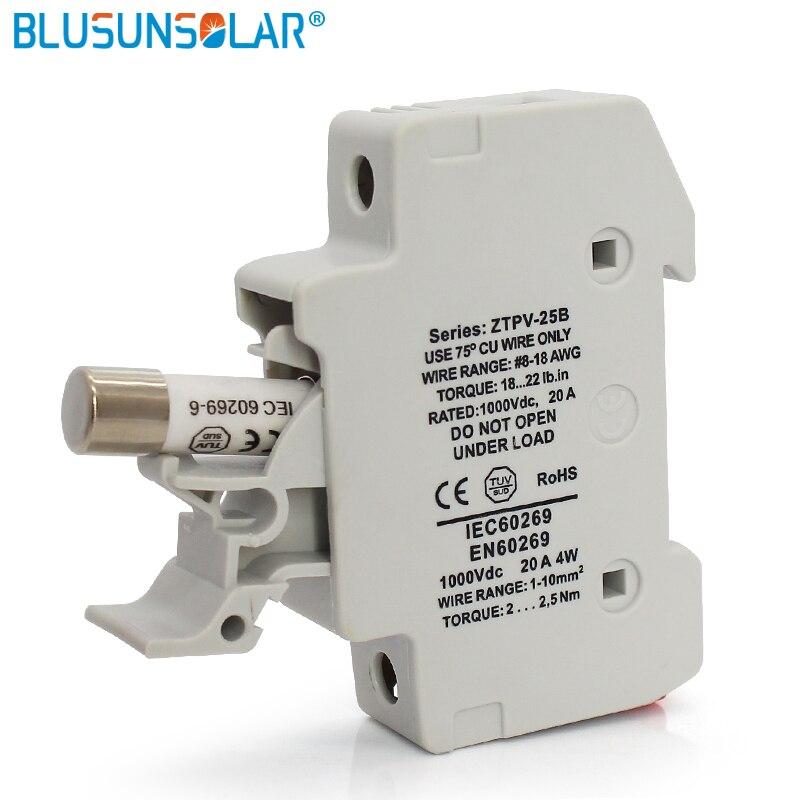 BULSUNSOLAR20 Uds fusible PV Solar/10/12/15A 1000VDC 10X38 gPV con 10 Uds soporte de fusible Solar BX0234/6
