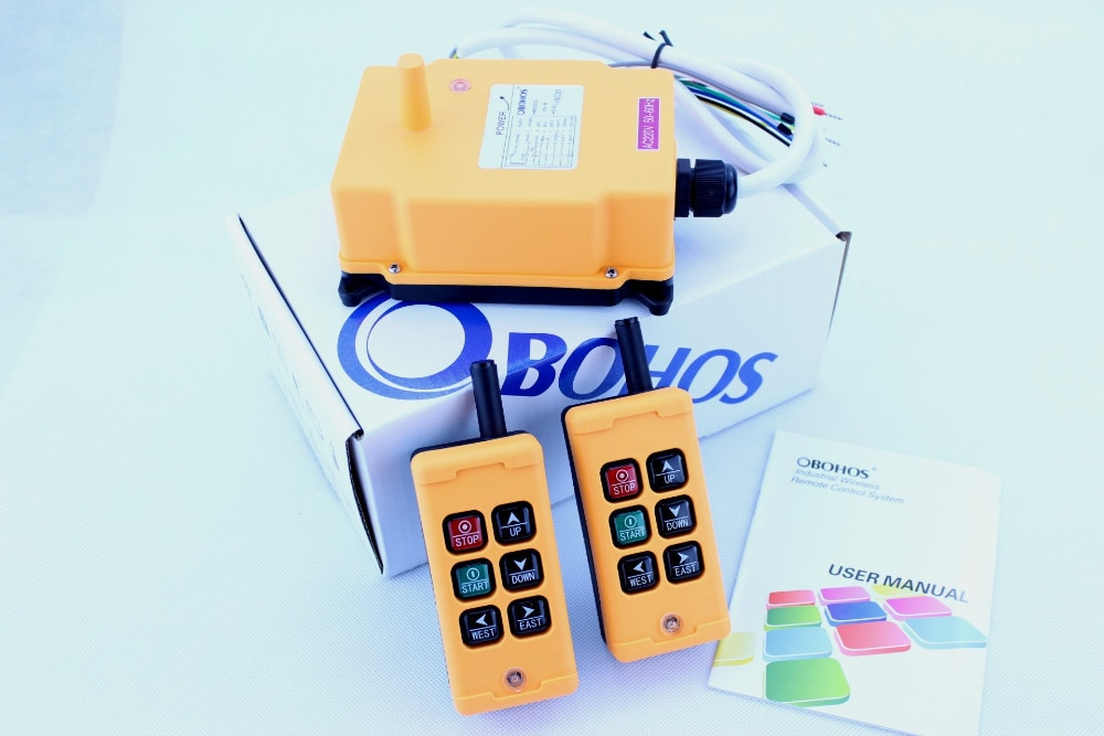 OHOBOS HS-6 DC12V AC220V marcha única 2 transmisor + 1 receptor grúa de elevación Industrial interruptor de botón de Control remoto inalámbrico