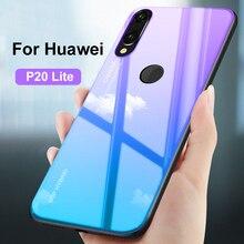 Gradiente de templado de vidrio de coque para Huawei p20 lite caso huwaei p 20 lite 20 lite de silicona cubierta de proteger no Flip casos
