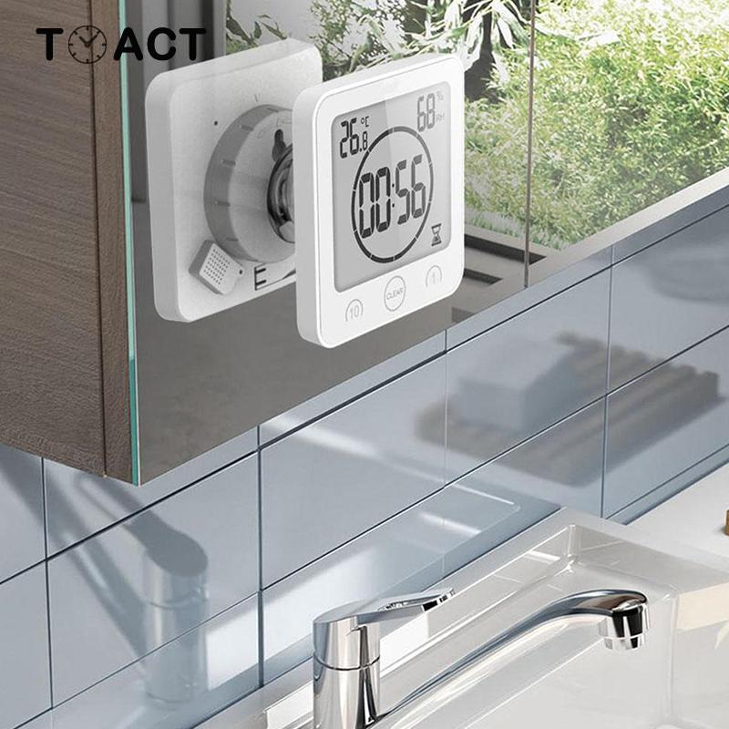Hot Sale Digital Bathroom Clocks LCD Waterproof Shower Watches Timer Temp Wall Clock Home Decoration Accessories Modern Design