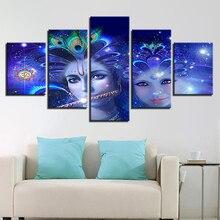 Enfeitar 5 Peças Belo Deus Hindu Radha E Krishna HD Pinturas Da Lona Para Living Room Home Decor Pictures Parede Modular
