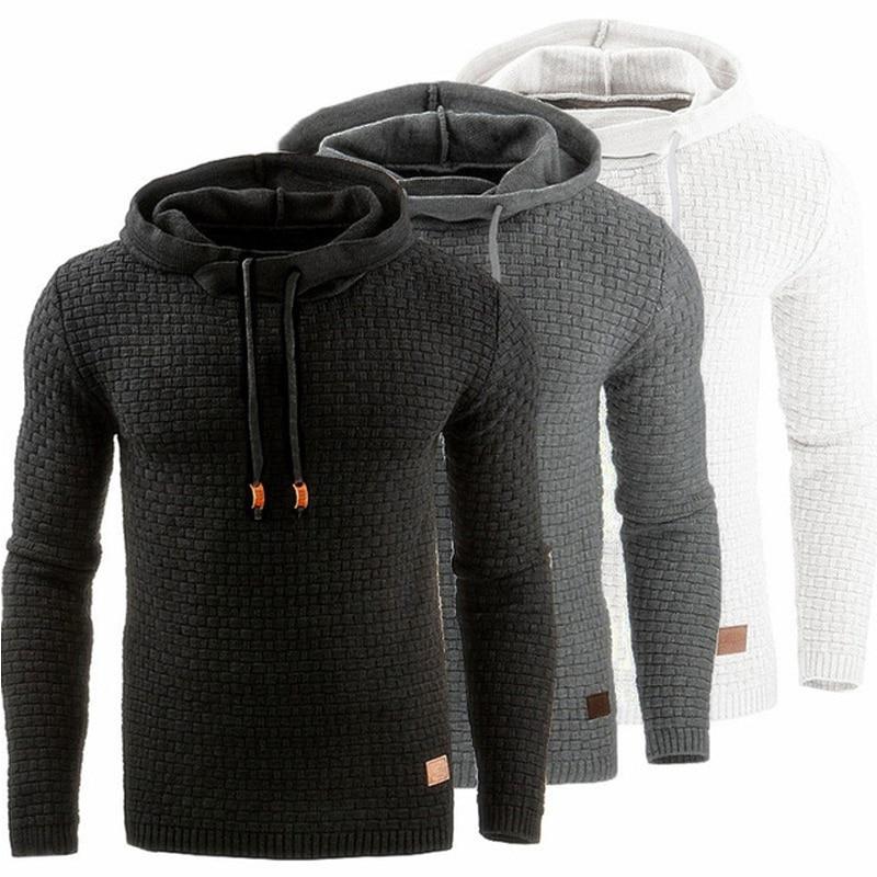 Свитер мужской, модный однотонный пуловер, мужской осенний качественный плотный теплый свитер с капюшоном и воротником, брендовый мужской ...