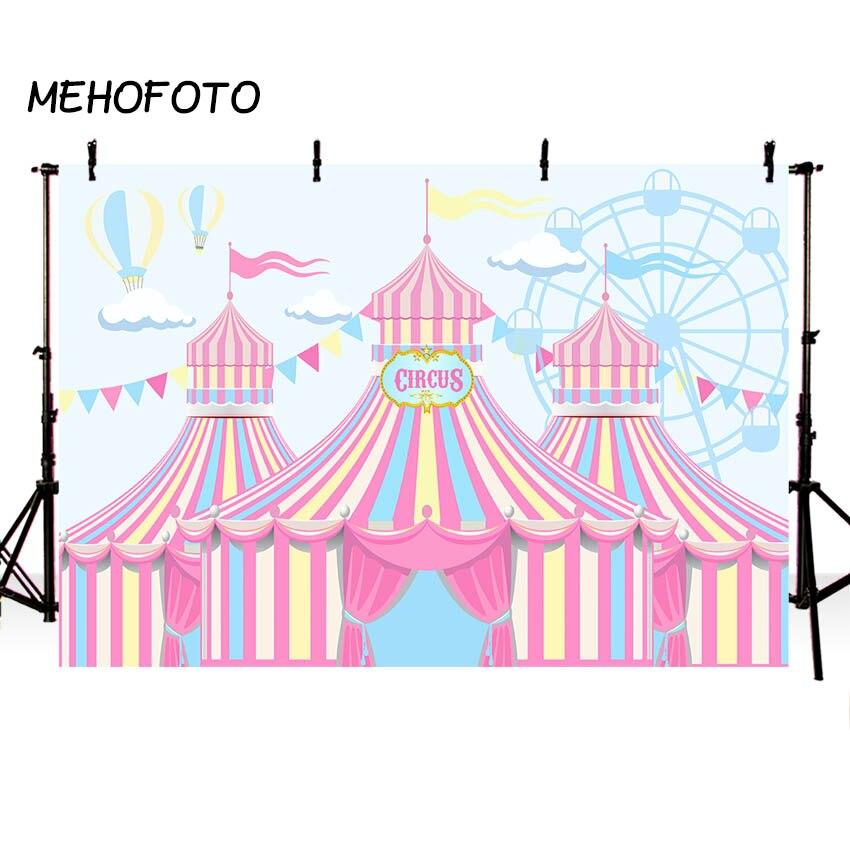 MEHOFOTO Rosa Circus Zelt Fotografie Kulissen Baby Mädchen Geburtstag Party Banner Decor Hintergrund für Foto Booth Nach Hintergrund