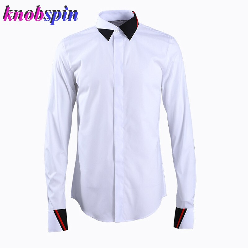 Fashion Collar Design Business male Dress Shirt 2019 Casual Slim long sleeve shirts men High quality Solid Chemise homme Camisas