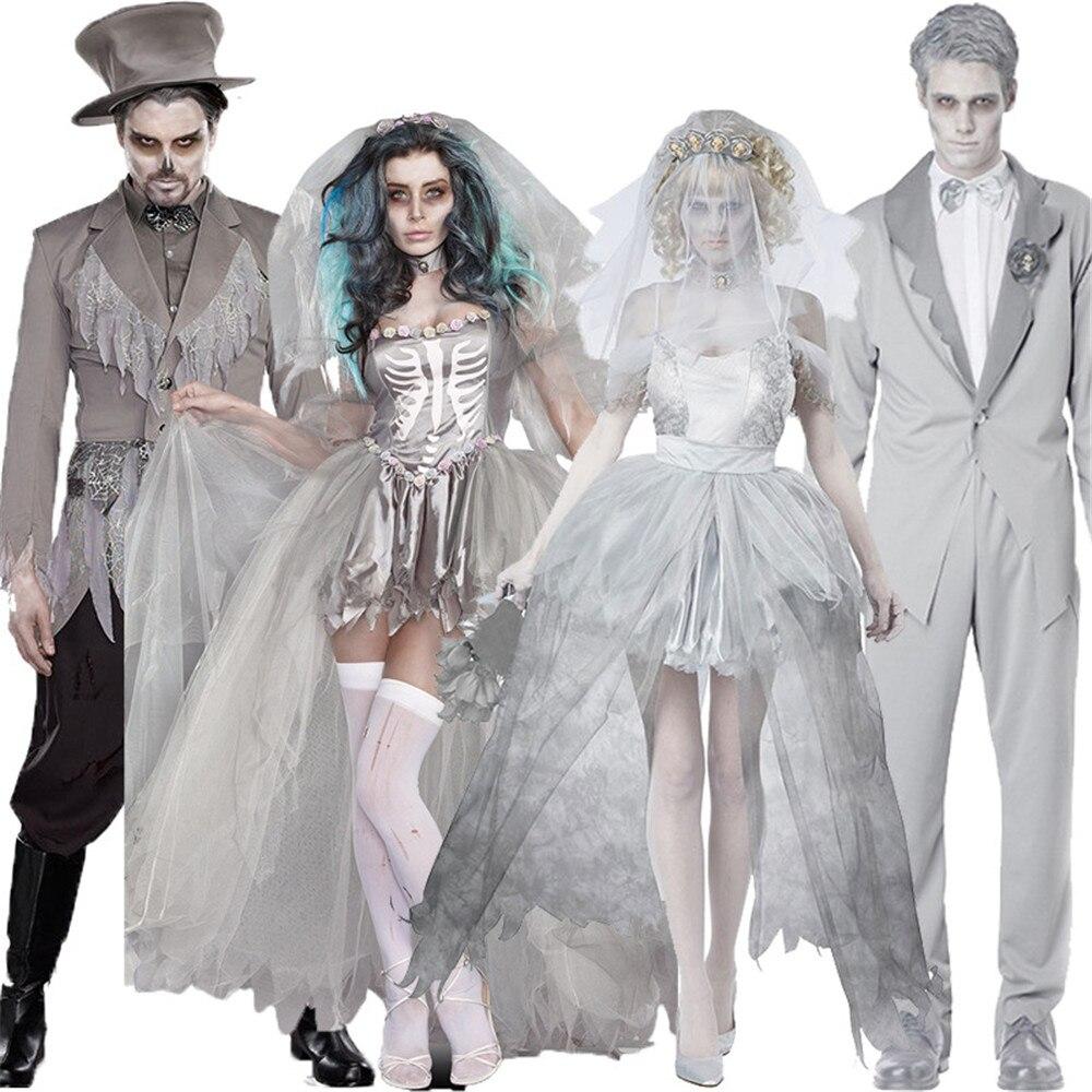 Disfraces de Halloween de Purim para mujeres Zombie cuerpo novia disfraz corto amor parche Cosplay vestido para adulto