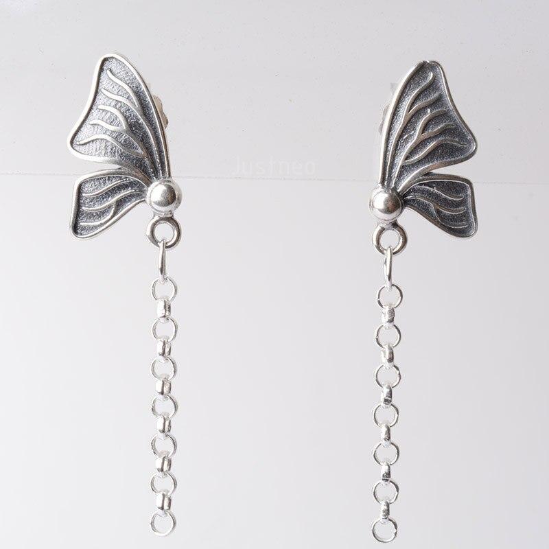 Цельный Сережка-гвоздик в форме бабочки из стерлингового серебра 925 пробы, Ушная нить, Роло/Роло, цепочка, серьги, аксессуары для поделок