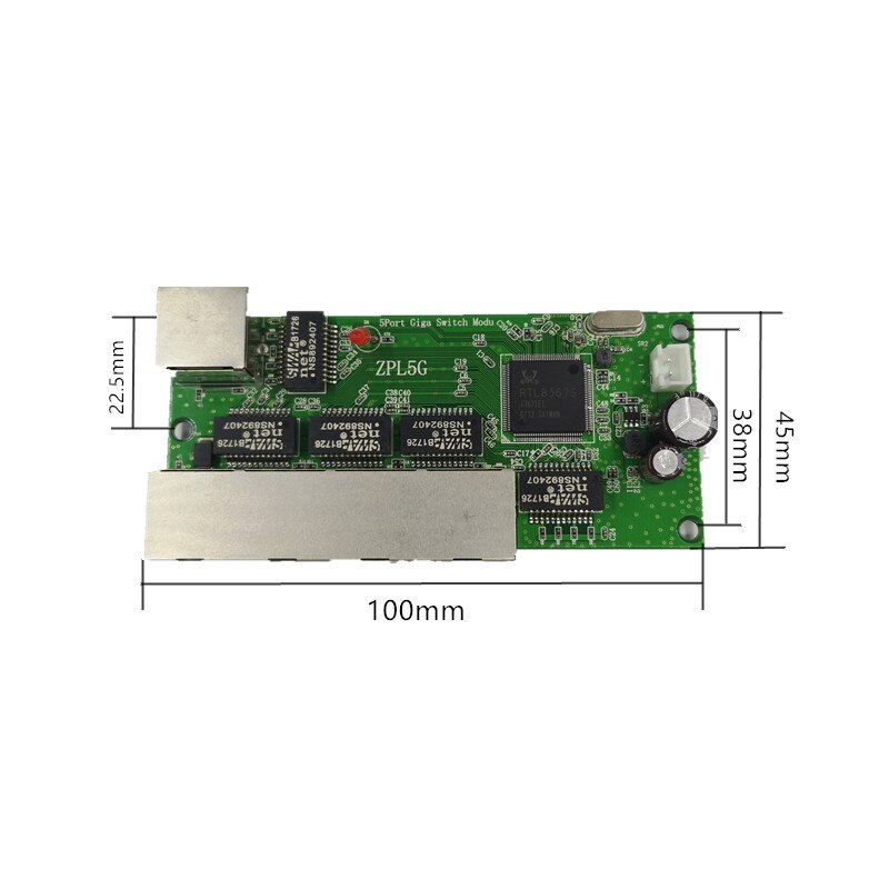 5-port Gigabit switch module is widely used in LED line 5 port 10/100/1000 m contact port mini switch module PCBA Motherboard enlarge