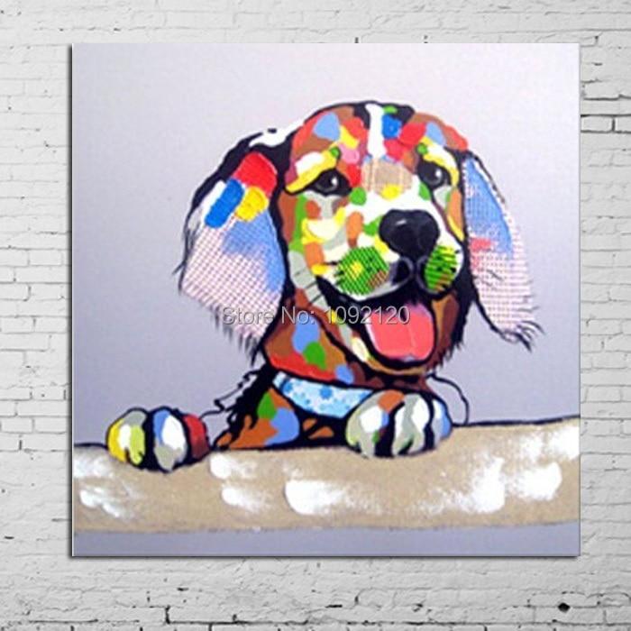 Pintura Animal hecha a mano venta caliente colorido perro sala de estar decoración del hogar lienzo pinturas al óleo mejor venta foto para la decoración de la casa