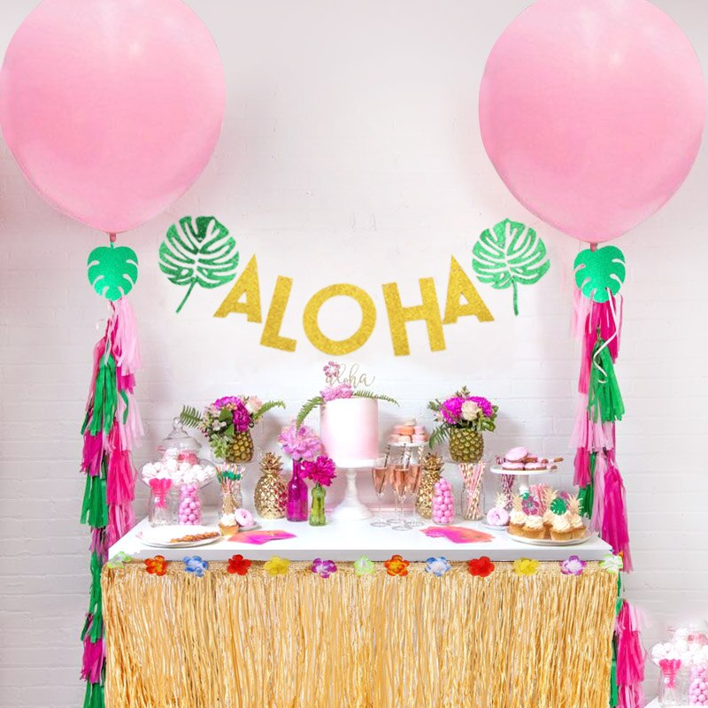 Flamingo Tropical Party ALOHA Gold Glitter Papier Blatt Brief Banner Hawaii Luau Party Bunting Garland Aloha Beach Party Decor