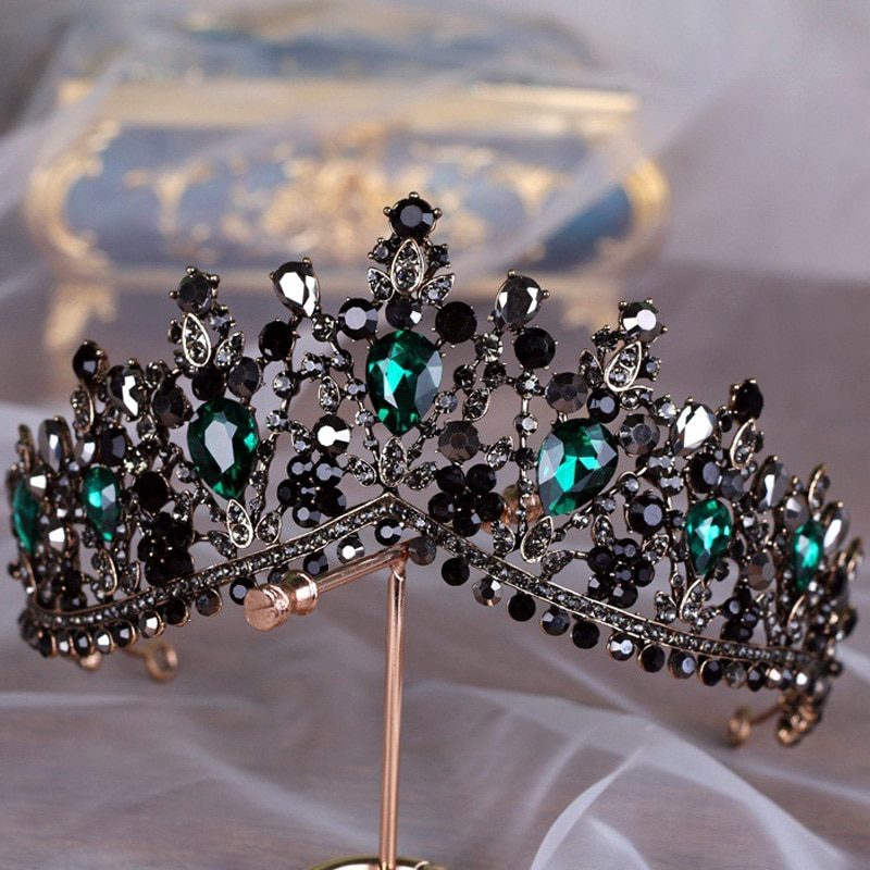 KMVEXO European Green Crystal Tiaras Vintage Black Rhinestone Pageant Crown Baroque Bridal Wedding Hair Jewelry Accessories Gift
