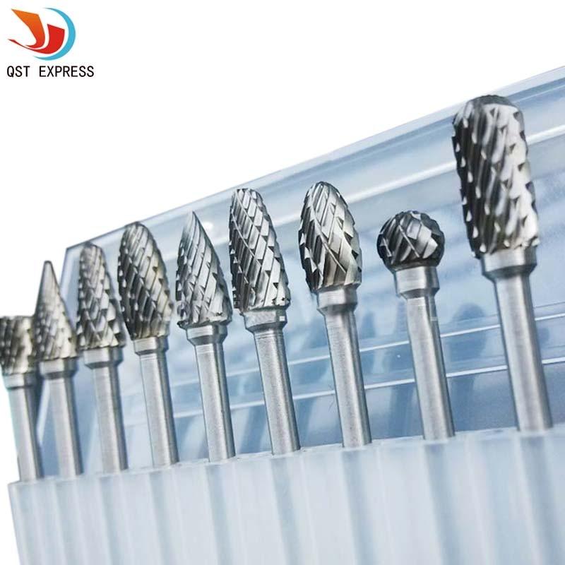 10pc 1/8 pulgadas vástago carburo de tungsteno fresa herramienta rotativa rebabas doble corte de diamante rotativo Dremel herramientas rectificado eléctrico