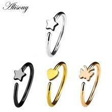 Alisouy 1pc chrząstka gwiazda serce miłość motyl nos Piercing chirurgiczne stalowe zginalny Hoop nos szpilki pierścień biżuteria do ciała