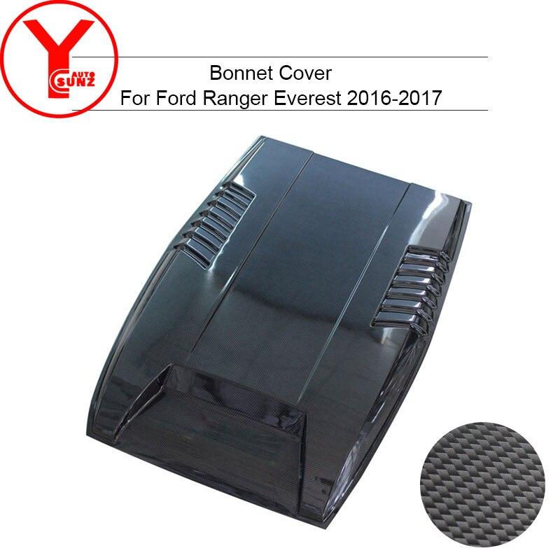 YCSUNZ, capo de fibra de carbono, capuchas de pala para autos, capucha, pegatina de ventilación, accesorios para Ford Everest Ranger T7 2016 2017 2018
