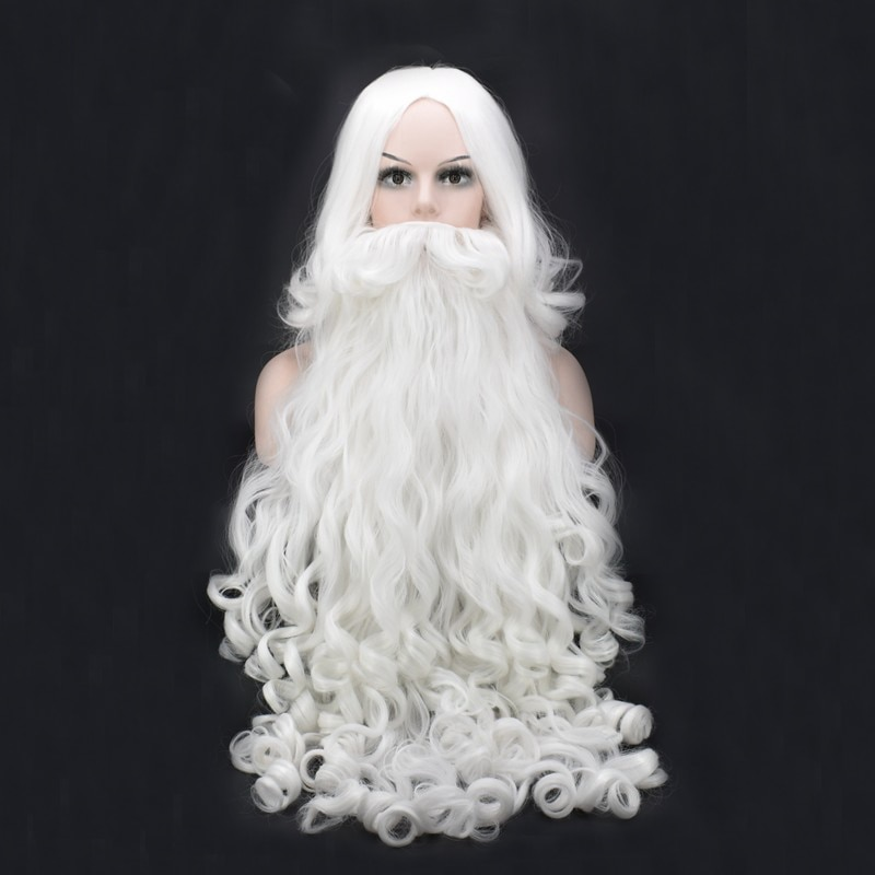 Anime Christmas Cosplay Wig Beard Santa Claus White Curly Long Synthetic Hair Heat Resistance + Wig Cap