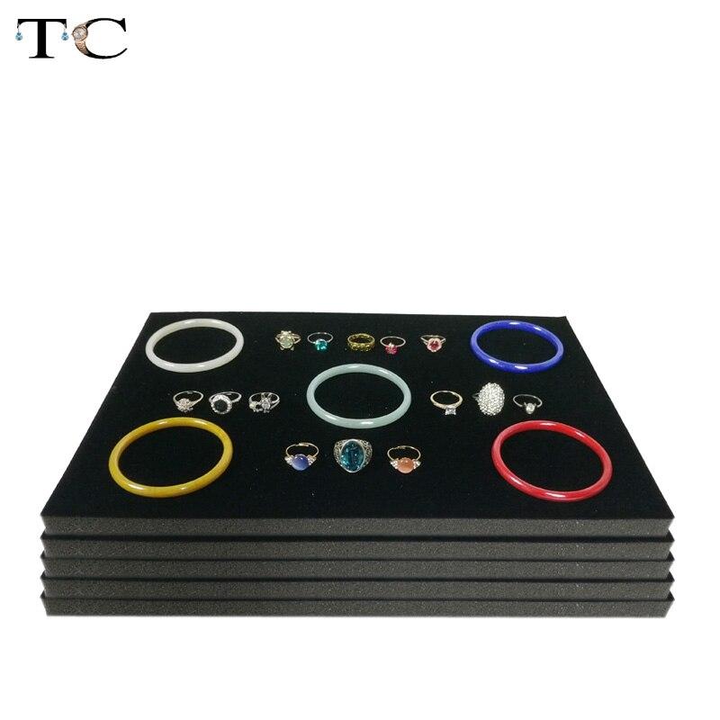 5 unids/lote, bandeja de espuma para joyería, insertos de forro, gris/Negro, terciopelo, joyería, anillos, pulsera, reloj mostrado