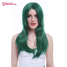 L-email peluca nueva mujer 60cm Cosplay pelucas largo oscuro verde recto alta temperatura fibra pelo sintético peruco Cosplay peluca