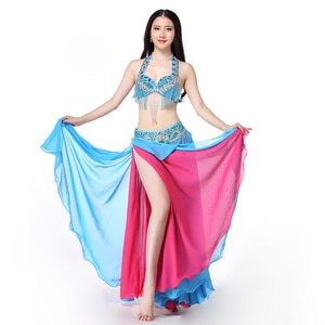 Women Dance Wear 2019 East Style Bellydance Clothes Oriental Outfits Beaded Belly Dance Costume Set Bra Belt Skirt Long Fringe