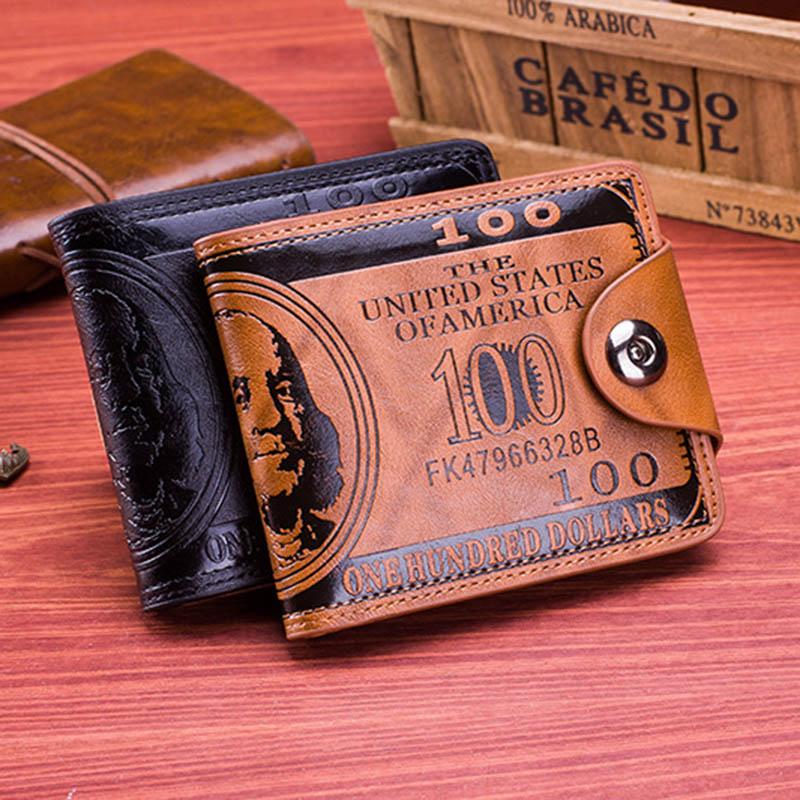 Мужской винтажный кошелек из искусственной кожи с узором в виде доллара, дизайнерские мужские кошельки, повседневный держатель для кредитн...