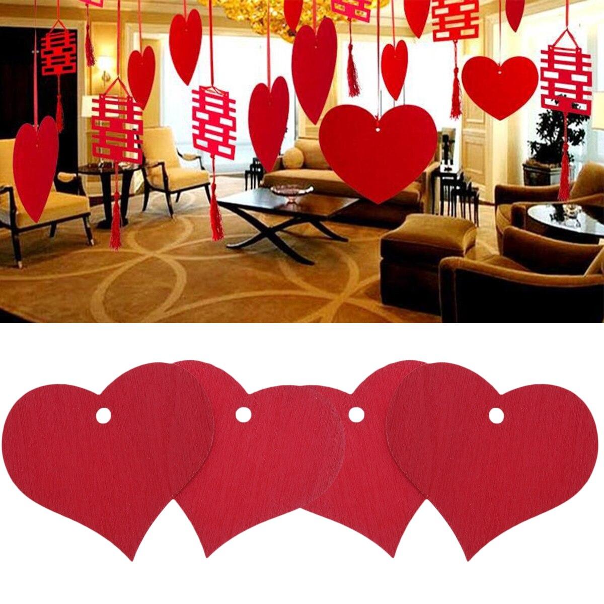 100 piezas corazones rojos placa signo madera hecho a mano forma de corazón placa signo con agujero adorno decorativo Adorno