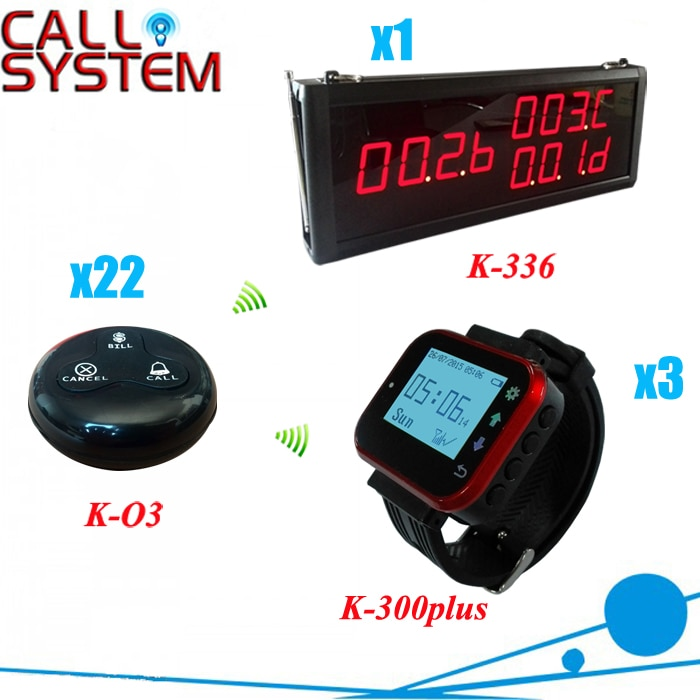 Customer Call Bell System for restaurant services with 1 number display, 3 watches and 22 buttons